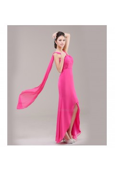A-Line Pink Long Chiffon Bridesmaid Dresses/Evening Dresses BD010625