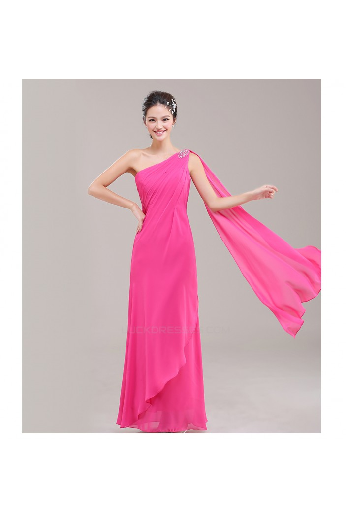 Sheath/Column One-Shoulder Beaded Chiffon Long Bridesmaid Dresses/Evening Dresses BD010626