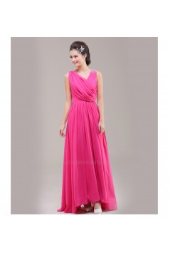 A-Line V-Neck Beaded Chiffon Long Pink Bridesmaid Dresses/Evening Dresses BD010627