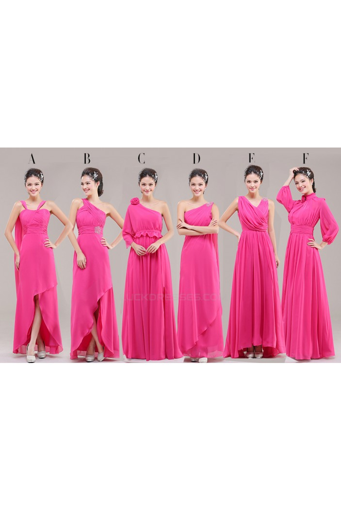 A-Line Long Pink Chiffon Bridesmaid Dresses/Evening Dresses BD010628