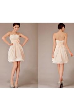 A-Line Strapless Short Chiffon Bridesmaid Dresses/Evening Dresses BD010629