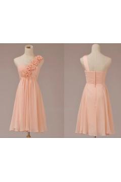 A-Line One-Shoulder Short Pink Chiffon Bridesmaid Dresses/Evening Dresses BD010630