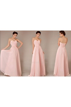 A-Line Sweetheart Long Pink Chiffon Bridesmaid Dresses/Evening Dresses BD010631