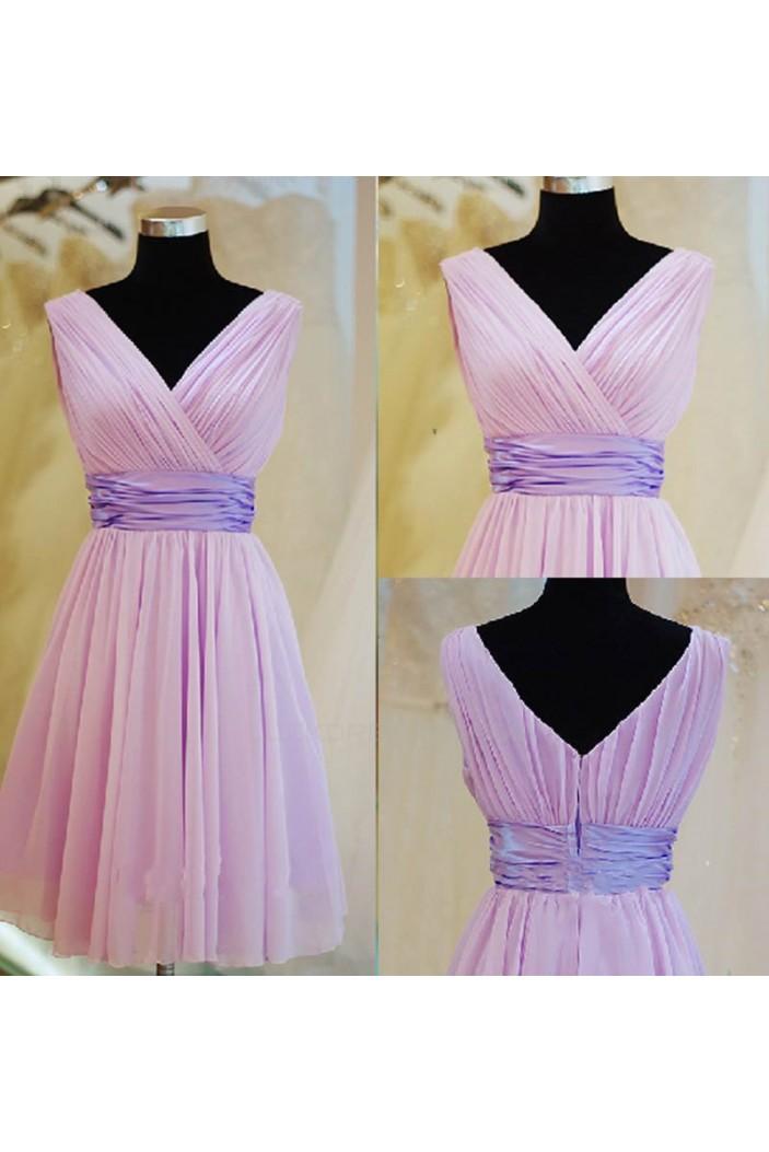 A-Line V-Neck Short Chiffon Bridesmaid Dresses/Evening Dresses BD010632