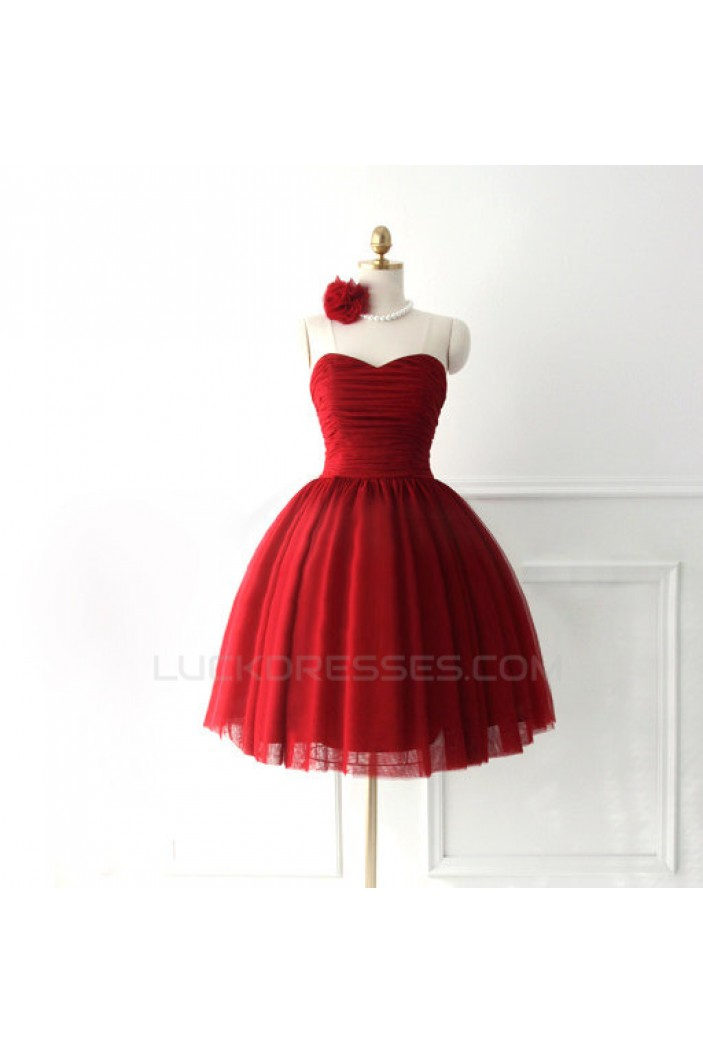 A-Line Sweetheart Short Red Bridesmaid Dresses/Evening Dresses BD010634
