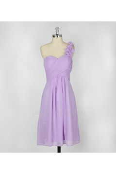 A-Line One-Shoulder Lilac Short Chiffon Bridesmaid Dresses/Evening Dresses BD010639