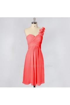 A-Line One-Shoulder Short Blue Chiffon Bridesmaid Dresses/Evening Dresses BD010641