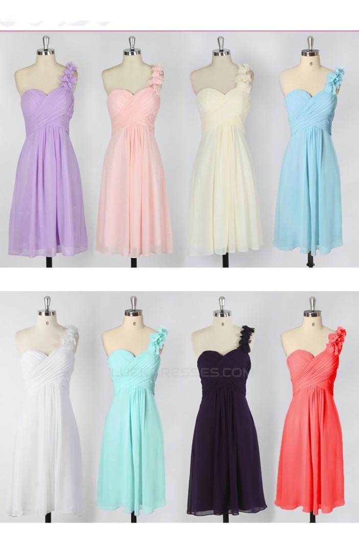 A-Line One-Shoulder Short Chiffon Bridesmaid Dresses/Evening Dresses BD010642