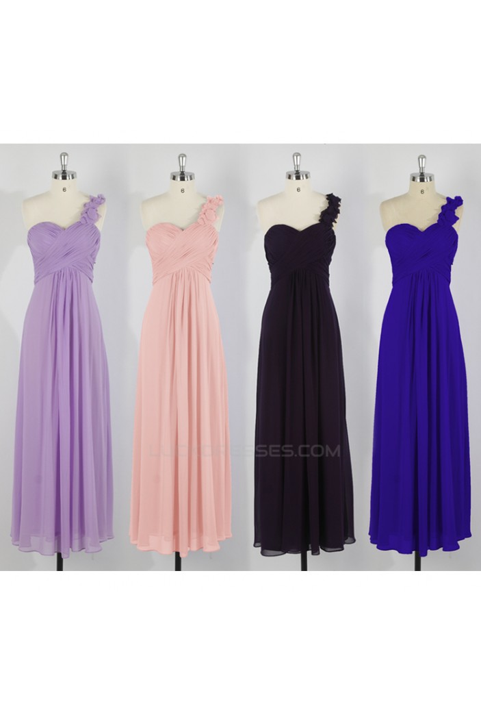 A-Line One-Shoulder Long Chiffon Bridesmaid Dresses/Evening Dresses BD010643