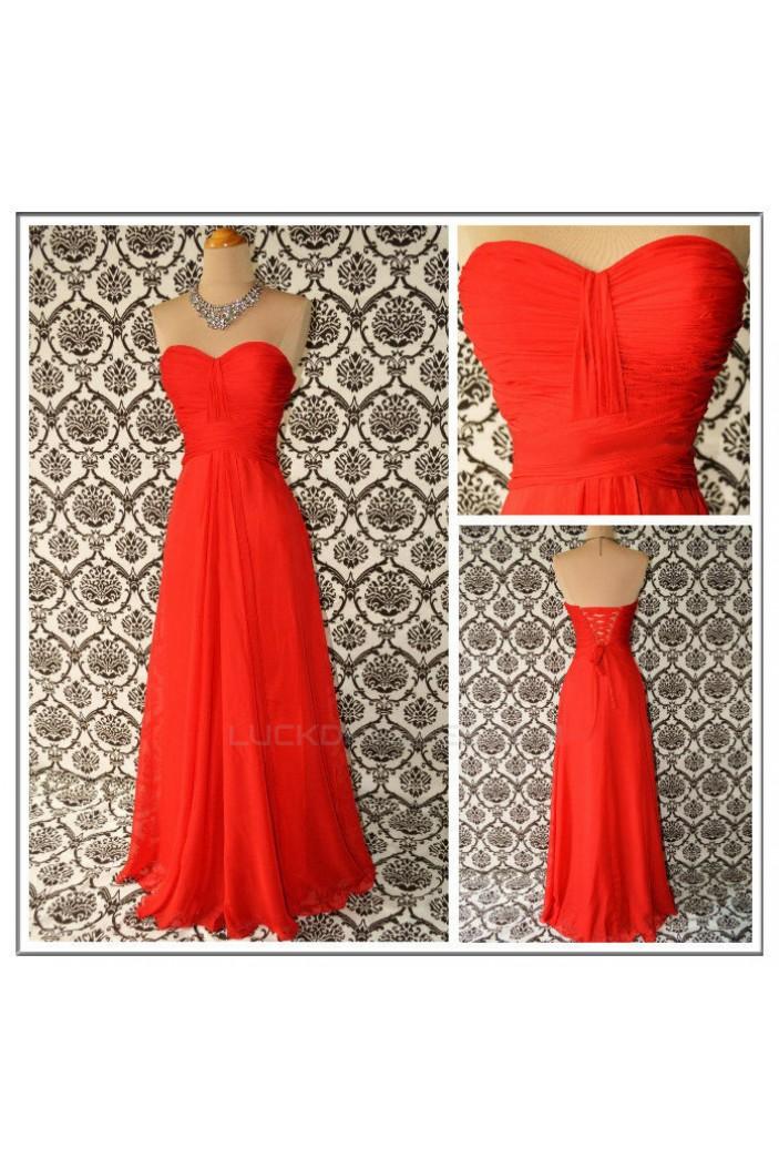 A-Line Sweetheart Long Red Chiffon Bridesmaid Dresses/Evening Dresses BD010644