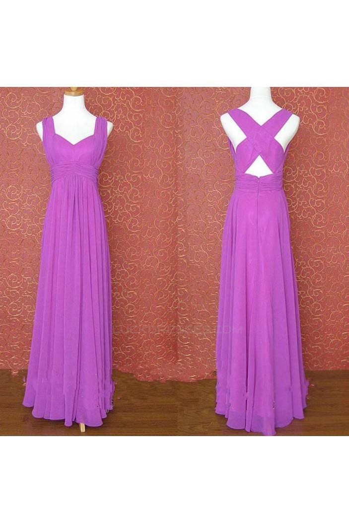 A-Line Long Purple Chiffon Bridesmaid Dresses/Evening Dresses BD010645