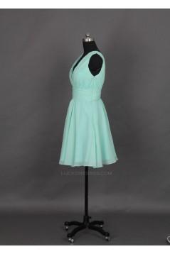 A-Line V-Neck Short Chiffon Bridesmaid Dresses/Evening Dresses BD010646