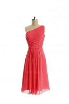 A-Line One-Shoulder Short Chiffon Bridesmaid Dresses/Evening Dresses BD010647