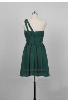 A-Line One-Shoulder Short Chiffon Bridesmaid Dresses/Evening Dresses BD010648