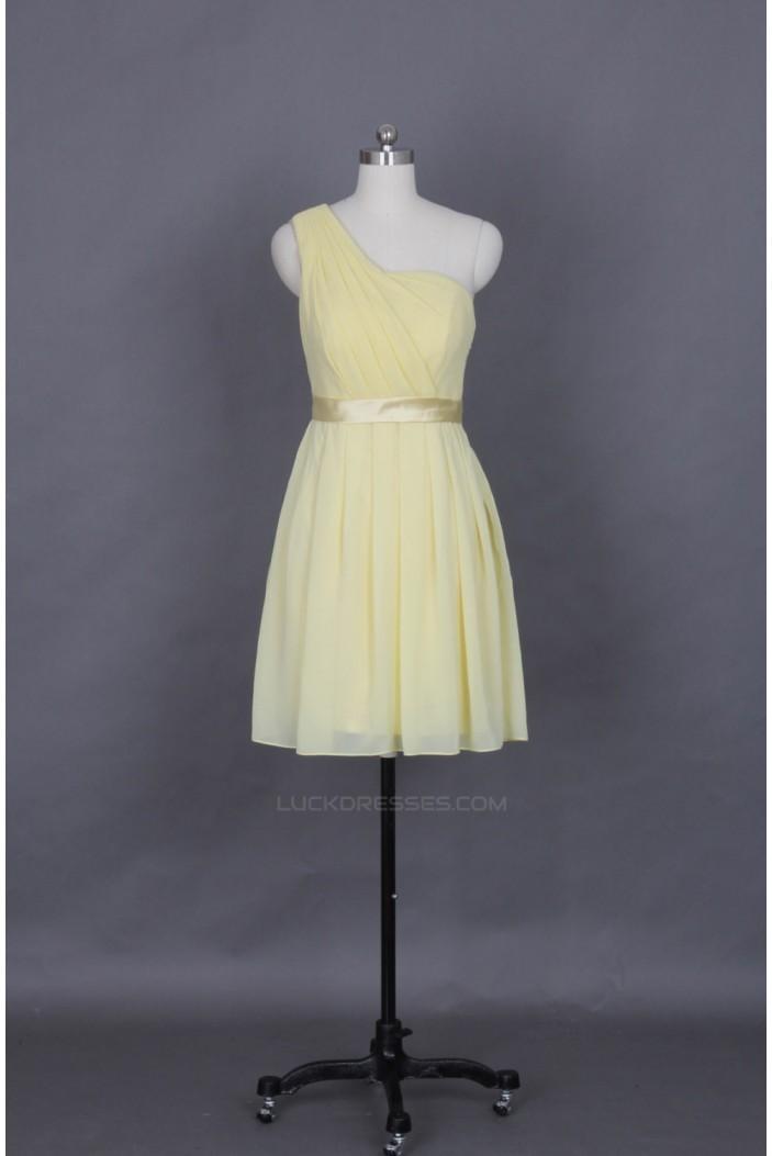 A-Line One-Shoulder Short Chiffon Bridesmaid Dresses/Evening Dresses BD010652