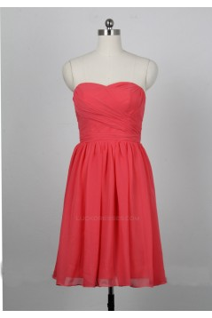 A-Line Sweetheart Short Blue Chiffon Bridesmaid Dresses/Evening Dresses BD010653