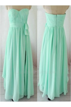 Sheath/Column Sweetheart Long Green Chiffon Bridesmaid Dresses/Evening Dresses BD010657