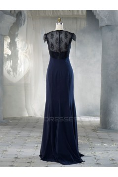 Sheath Cap Sleeve Long Chiffon and Lace Bridesmaid Dresses/Evening Dresses BD010659