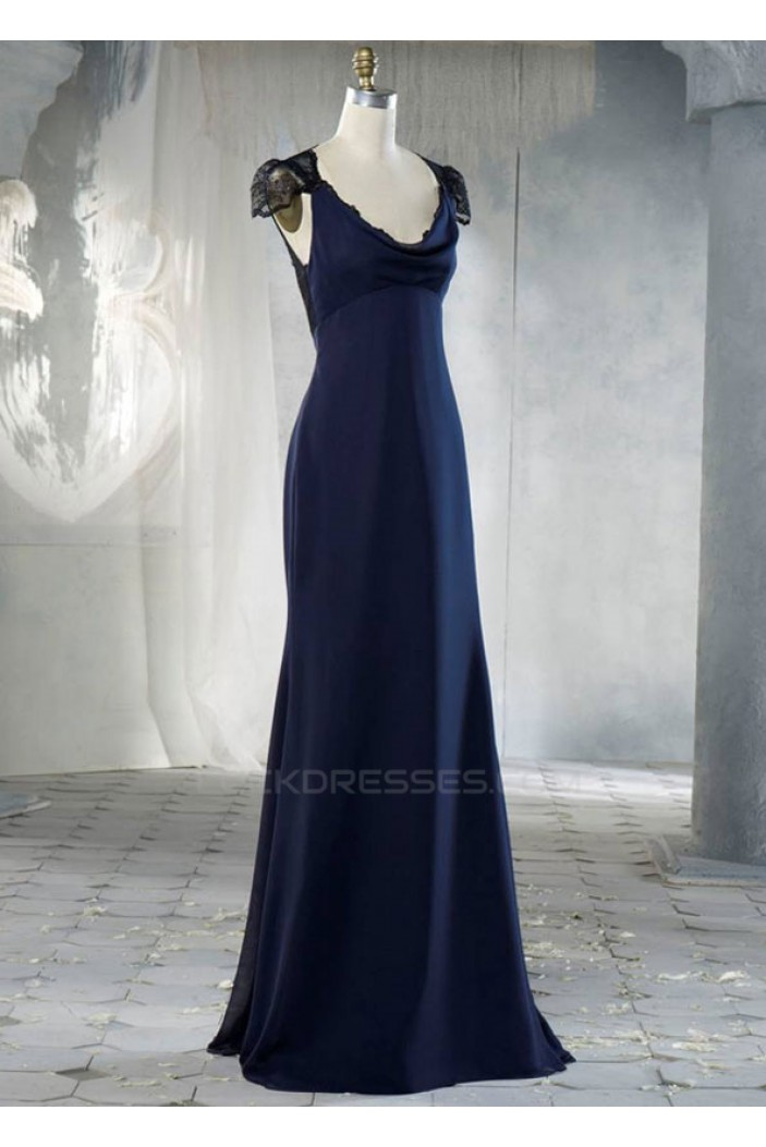 Sheath Cap Sleeve Long Chiffon and Lace Bridesmaid Dresses/Evening Dresses BD010659