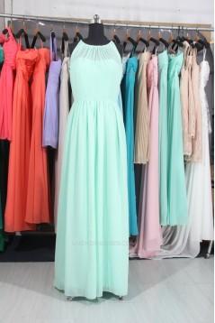 A-Line Long Blue Chiffon Bridesmaid Dresses/Wedding Party Dresses BD010664
