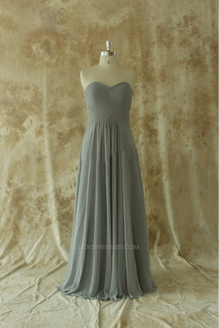A-Line Sweetheart Long Grey Chiffon Bridesmaid Dresses/Wedding Party Dresses BD010665