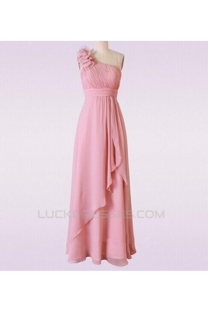 A-Line One-Shoulder Long Pink Chiffon Bridesmaid Dresses/Wedding Party Dresses BD010666