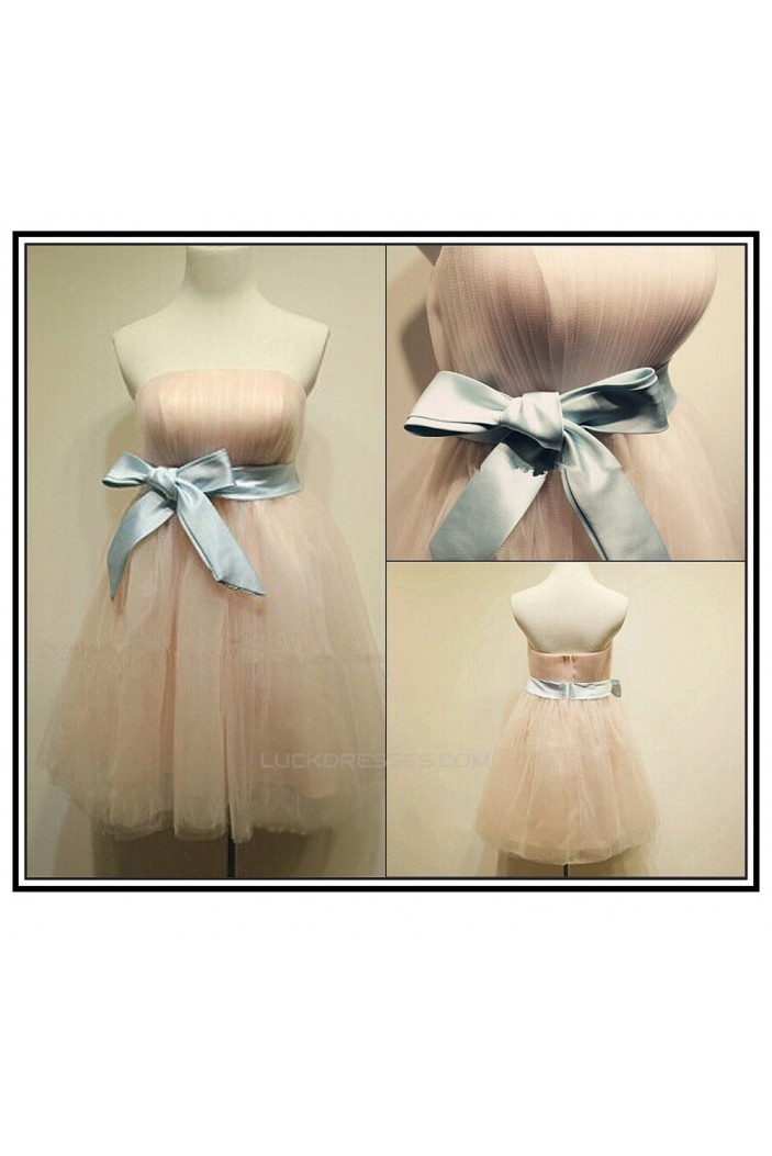 A-Line Strapless Tulle Bridesmaid Dresses/Wedding Party Dresses BD010668