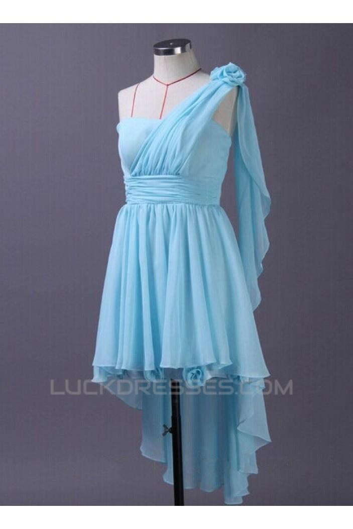A-Line High Low One-Shoulder Blue Chiffon Bridesmaid Dresses/Wedding Party Dresses BD010669
