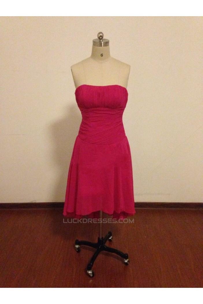 A-Line Strapless Short Chiffon Bridesmaid Dresses/Wedding Party Dresses BD010670