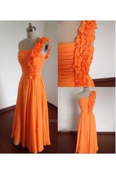 A-Line One-Shoulder Long Chiffon Bridesmaid Dresses/Wedding Party Dresses BD010671