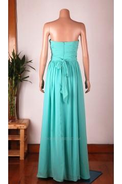 A-Line Sweetheart Long Blue Chiffon Bridesmaid Dresses/Wedding Party Dresses BD010673
