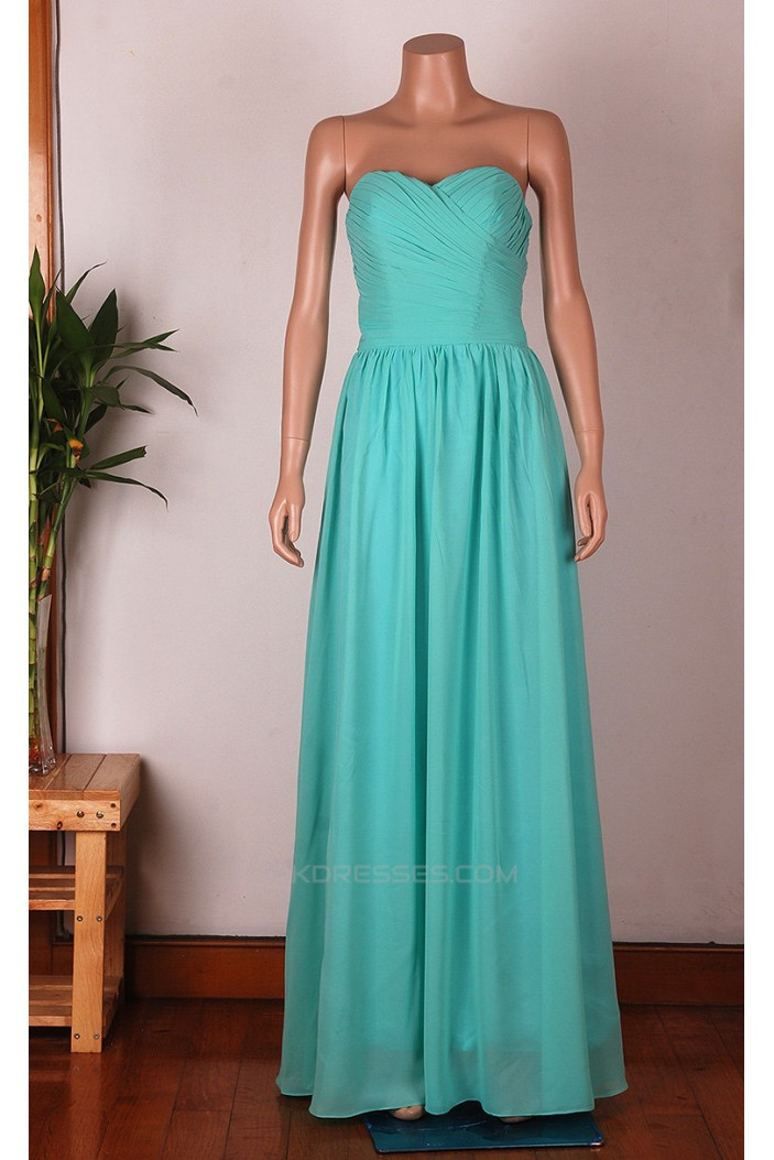 A-Line Sweetheart Long Blue Chiffon Bridesmaid Dresses/Wedding Party Dresses BD010674