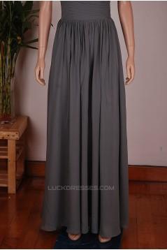 A-Line Long Grey Chiffon Bridesmaid Dresses/Wedding Party Dresses BD010677