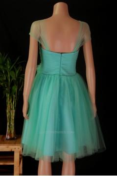 A-Line Off-The-Shoulder Blue Tulle Bridesmaid Dresses/Wedding Party Dresses BD010679