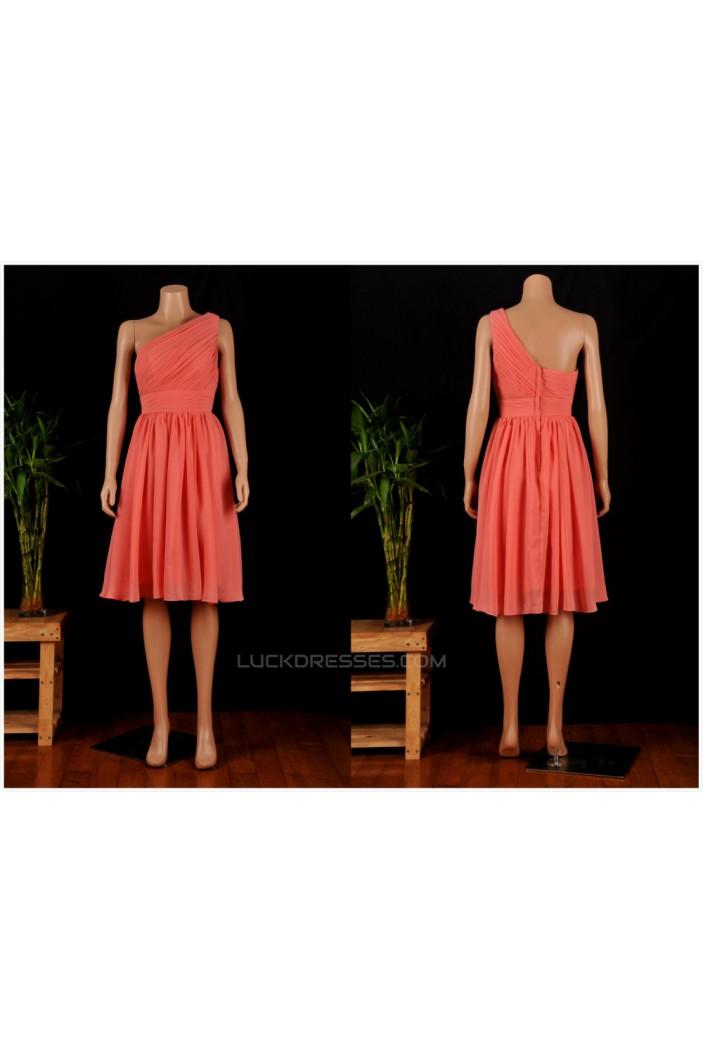 A-Line One-Shoulder Short Chiffon Bridesmaid Dresses/Wedding Party Dresses BD010685
