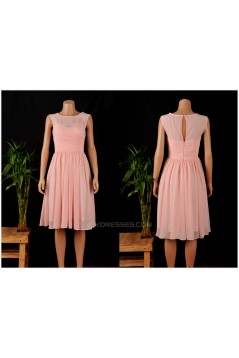 A-Line Short Pink Chiffon Bridesmaid Dresses/Wedding Party Dresses BD010686