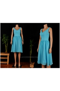 A-Line Short Blue Chiffon Bridesmaid Dresses/Wedding Party Dresses BD010688