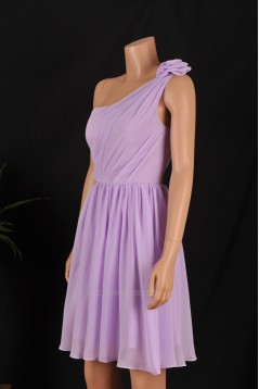 A-Line One-Shoulder Short Purple Chiffon Bridesmaid Dresses/Wedding Party Dresses BD010689