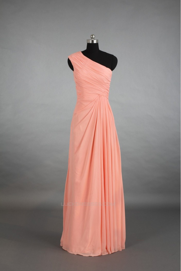 A-Line One-Shoulder Long Chiffon Bridesmaid Dresses/Wedding Party Dresses BD010693