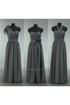 A-Line Long Grey Chiffon Bridesmaid Dresses/Wedding Party Dresses BD010695