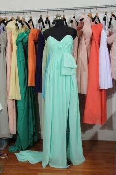 A-Line Sweetheart Long Blue Chiffon Bridesmaid Dresses/Wedding Party Dresses BD010697
