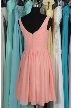 A-Line V-Neck Short Chiffon Bridesmaid Dresses/Wedding Party Dresses BD010700