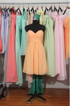 A-Line Sweetheart Short Yellow Chiffon Bridesmaid Dresses/Wedding Party Dresses BD010705