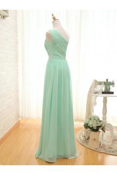 A-Line One-Shoulder Long Green Chiffon Bridesmaid Dresses/Wedding Party Dresses BD010706