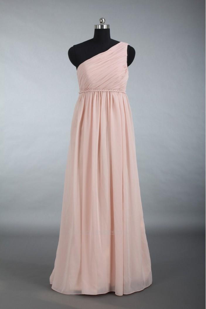 Empire One-Shoulder Long Chiffon Bridesmaid Dresses/Wedding Party Dresses/Maternity Dresses BD010711