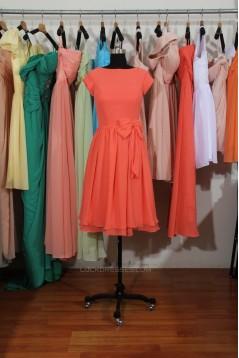 A-Line Bateau Short Sleeve Chiffon Bridesmaid Dresses/Wedding Party Dresses BD010712
