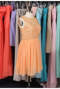A-Line Short Lace and Chiffon Bridesmaid Dresses/Wedding Party Dresses BD010713