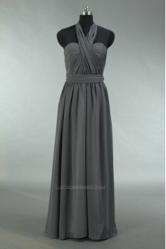 A-Line Sweetheart Halter Long Grey Chiffon Bridesmaid Dresses/Wedding Party Dresses BD010720