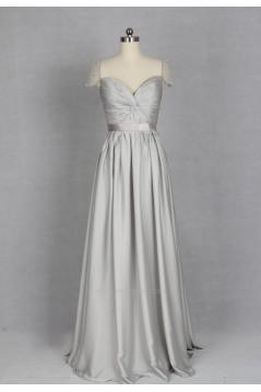 A-Line Sweetheart Cap Sleeve Long Grey Chiffon Bridesmaid Dresses/Evening Dresses BD010721