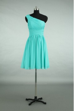 A-Line One-Shoulder Short Blue Chiffon Bridesmaid Dresses/Wedding Party Dresses BD010723